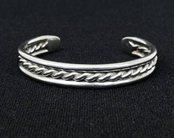 Vintage Sterling Silver Twisted Braided Rope Center Cuff Bracelet