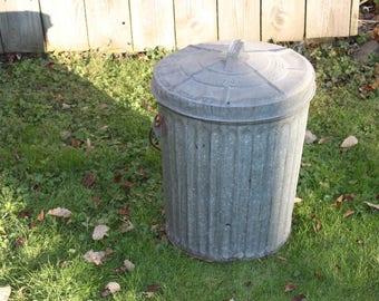 Wheeling Galvanized Metal Trash Can