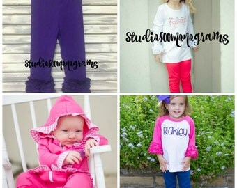 Ruffle Leggings/Icing Leggings/Red Leggings/Purple Leggings/Hot Pink Leggings/Navy Leggings