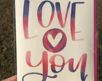 Love You Hand Lettered Greeting Card
