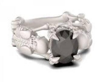 Black Sapphire Skeleton Ring