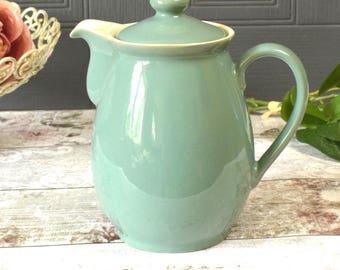 Vintage Denby coffee pot, seafoam green glazed stoneware