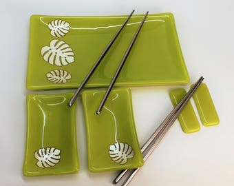 Monstera Leaf Fused Glass Sushi Set, Japanese Dinnerware, Silver Foil Sushi Set, Fused Glass Platter Set, Lemongrass Glass Platter Set