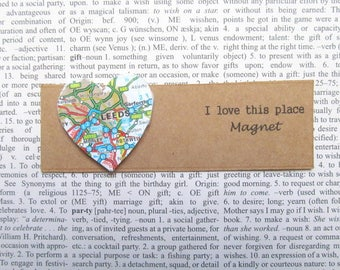 Leeds, UK map magnet: heart shaped magnet made with an original map. Gift idea for best friend, new home,, Valentines gift