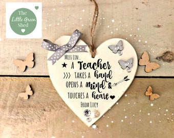 Teacher Gift Plaque Thank you Heart Personalised Keepsake