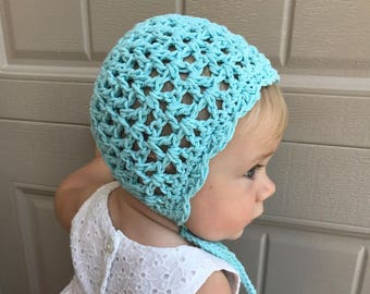 Lace baby girl spring bonnet, Easter crochet  bonnet, summer newborn hat with ties, bonnets for girls, photo prop infant girl, ready to ship