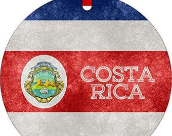 Costa Rican Grunge Flag-Double-Sided Round Shaped Flat Aluminum Christmas Holiday Hanging Tree Ornament with a Red Satin Ribbon.