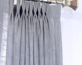 Gray Linen Sheer Pleated Drapery