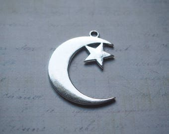 Great charm Crescent Moon and star silver-plated 44x33mm