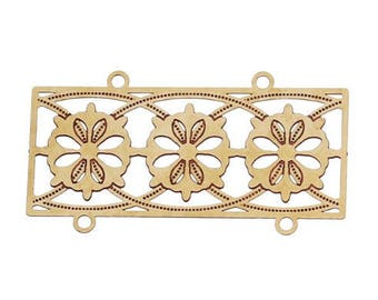 2 filigree connectors flowery brass 35x19mm