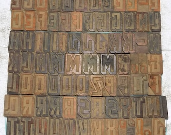 111 piece Unique Letterpress wood wooden type printing blocks 42 mm used .#be-364