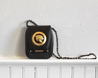 90s Gaudy Black n Gold Crossbody Bag