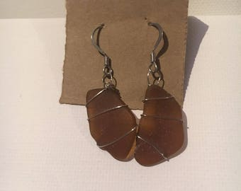Brown wire-wrapped Sea Glass earrigs