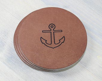 Anchors Leather Coasters 4 Pack