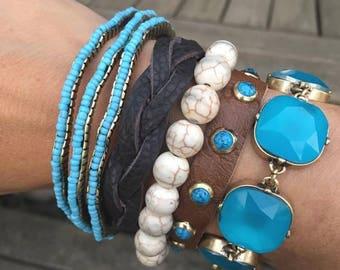Boho Calypso Bracelet in Aqua
