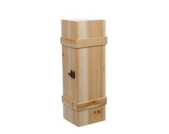 Vintage Wooden Wine Box Crate Natural Pine Wood 11.5 x 11.5 x 36.5cm high