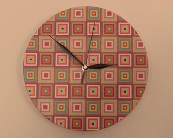 Coloured squares wall clock - Silence Clockwork office clock - boy room - Nursery - Quiet clockwork - extra quiet clock - Black