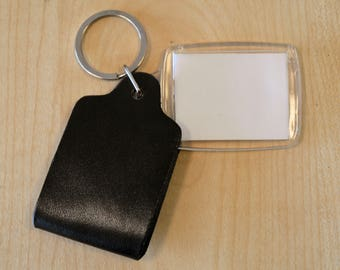 Perspex photo holder keyring with LEATHER cover BULK WHOLESALE pack of 10.