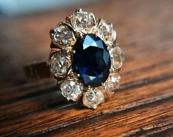 Antique 14K Yellow Gold Blue Sapphire and Old Mine Cut Diamond Halo Engagement Ring with Appraisal Cert - Size 5