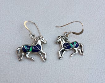 Sterling Horse Channel Inlay Opal Lapis Earrings