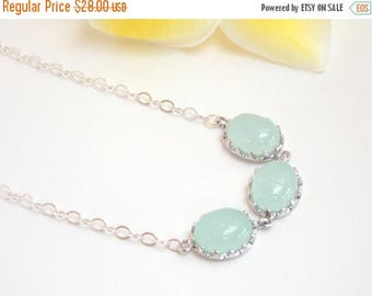SALE Wedding Jewelry, Mint Necklace, Light Mint, Aqua Green,Sterling Silver, Bridesmaid Gifts, Bridesmaid Pendant,Gifts,Bride Gifts,Friend's