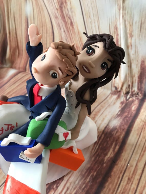 Wedding cake Topper with aeroplane Fully Personalised a lovely keepsake - Bride and Groom/Same Sex/Wedding couple