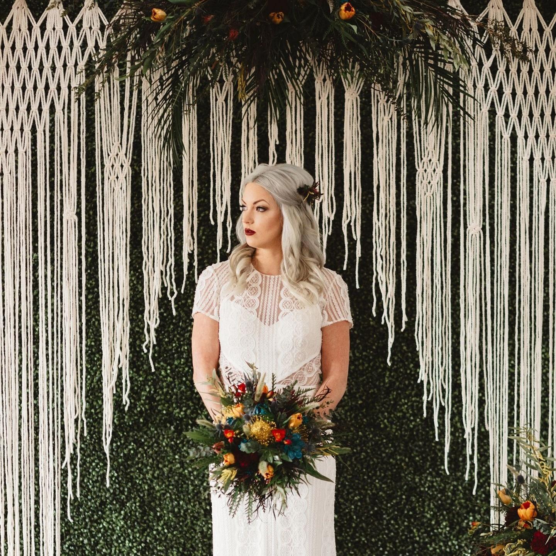 Wedding Altar Backdrops: Macrame Wedding Ceremony Backdrop For An Arch Arbor Altar Or
