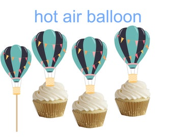 Blue Hot Air Balloon cakepop/cupcake toppers 24 pcs for baby shower