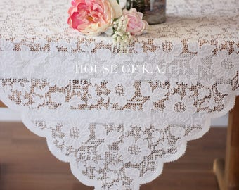 Ivory Lace Tablecloth 72 x 72 inches | Square Lace Table Overlays, Lace Table Linens, Wedding Decorations, Wedding Table Decor