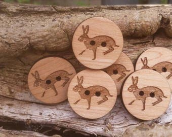 Six Wooden Hare Buttons made from Maple Wood