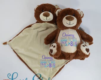 Personalized Teddy Bear, Birth Stats Bear, Name Bear, Embroidered Bear, Keepsake Bear, Memorial Bear, Brown Bear Teddy, Little Elska