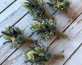 Thistle Buttonholes, dried flowers including lavender and grasses for a rustic, vintage or country feel finished with twine