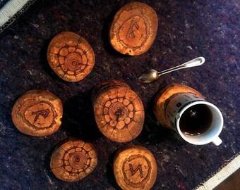 Wooden set of mug holders, Magic rune set of mug holders