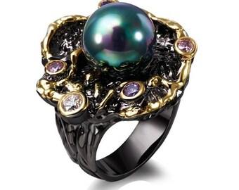 Dreamcarnival Elegant Unique Vintage Ring Bague Black Gold Color