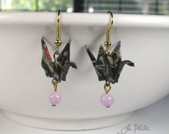 Black Floral Glazed Origami Crane Earrings