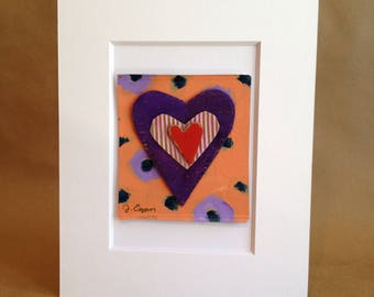 Collage Painting - Rumpled Heart #51