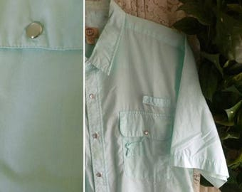 Vintage SHORT SLEEVE SHIRT Mens Size Extra Extra Large xxl Hardly Worn Easy Care Cotton Blend Short Sleeve Summer Light Weight Big Tall