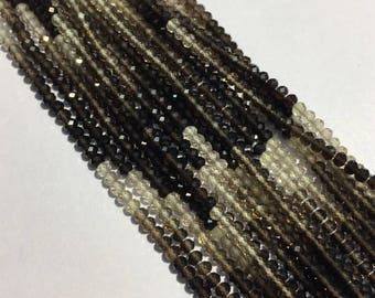 """Natural Beautiful Smoky Quartz Shaded Beads String 3 mm Faceted Round Amazing Beads Line 13"""" Gemstone Beads Strands"""