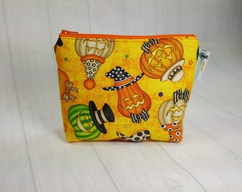 Notions Pouch, Halloween Ghords & Pumpkins, Mini Zippered Wedge Bag, Knitting Notions Pouch, Craft Pouch NP0029