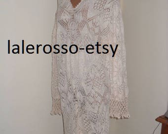 Plus  Bohemian dress robe knitted 100% cotton,Delicate white lace dress, hand crocheted.Plus crochet knit clothing