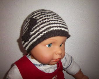 Woolen Hat 3 months (Brown/ecru)