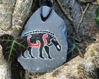 Knocknagael Boar hand carved and painted Pictish pendant.