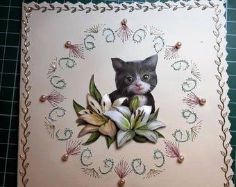 black kitten - hand made 3D card