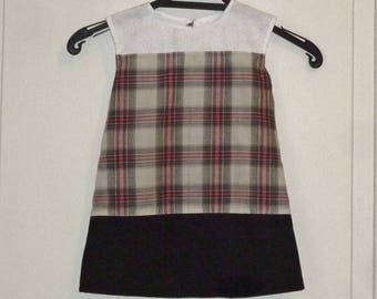 Dress child cotton Plaid, white and black, light, size 2 years