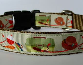 Let's Go Fishing Dog Collar - Ready to Ship!