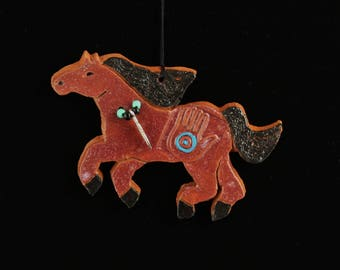 Horse Ornament with Beads, Handmade Christmas Pony, Southwest Equine by Arizona artist, Karlene Voepel.  Sold individually.