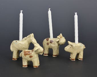 Farm Animal Birthday Candle Holders, Donkey, Goat, Cow, Pig, Dog, Mouse, Cat, Handmade Ceramics by Karlene Voepel. Sold Individually.