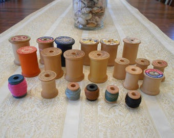 Vintage Wood Thread Spools Lot of 21, Thread Spools