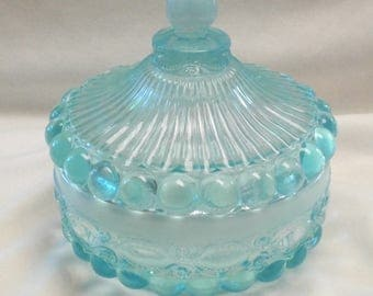 Vintage Covered Candy Dish Eyewinker Pattern in Aqua Opal - L.G. Wright Mold