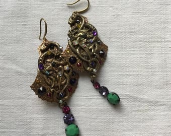 Reserved S, Art Nouveau earrings ,vintage  rhinestones,rare brass dragon and snake medieval style stamping